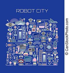 Robot City vector illustration