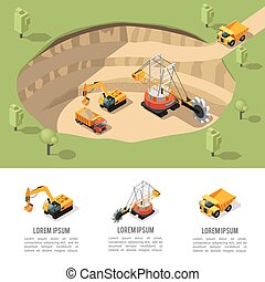 Colorful Isometric Coal Extraction Composition - Colorful ...