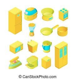 Colorful isometric home appliances