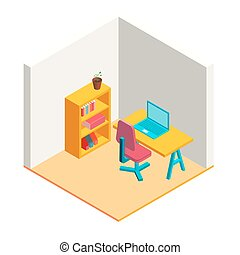 Colorful isometric office illustration