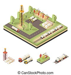 Colorful Isometric Oil Extraction Composition