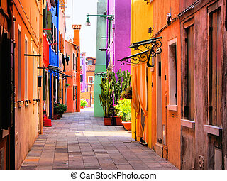 Colorful Italian street - Colorful street in Burano, near...