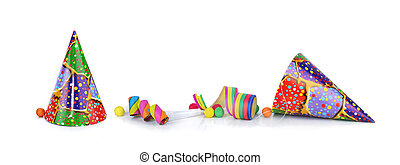 colorful items for event  celebration  isolated on white background in panoramic view