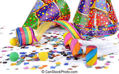 colorful items for event  celebration on white background