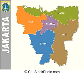 Colorful Jakarta administrative and political map with coat of arms
