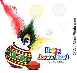 colorful janamashtami background vector illustration