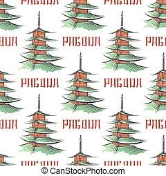 Colorful japanese pagoda seamless pattern