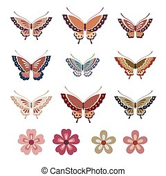 colorful Japanese style butterflies and flowers