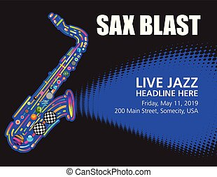 colorful jazz sax poster with space for text.