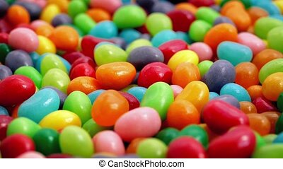 Colorful Jelly Beans Rotating - Closeup of bright...