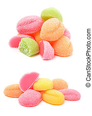 colorful jelly candies. collage