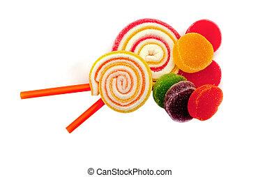 colorful jelly candies. - colorful jelly candies isolated on...