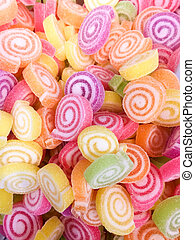 Colorful Jelly Candy bonbon snack group. sweet for valentines day background. pastel color in green yellow pink purple orange.