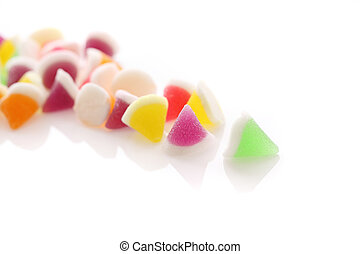 Colorful jelly candy isolated in white background