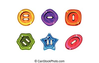 Colorful jelly glossy buttons for game or web design interface vector Illustration on a white background