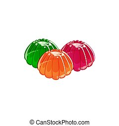 Colorful jelly isolated on white background.