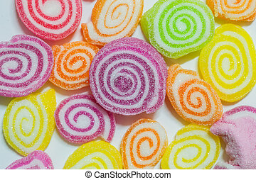 Colorful jelly on white background.
