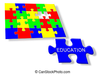 Colorful jigsaw puzzle Education