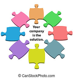 Colorful jigsaw puzzle pieces around solution copy space in the center.