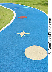 Colorful jogging lane in park