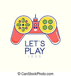 Colorful joystick logo. Gamepad. Creative vector design for games store or developers company. Entertainment concept. Linear icon with yellow, red, green fill