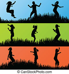 Colorful jumping children silhouettes background vector