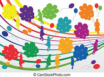 Colorful jumping children silhouettes illustration collection