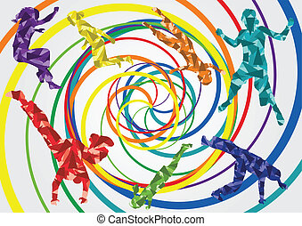 Colorful jumping children silhouettes illustration collection background vector