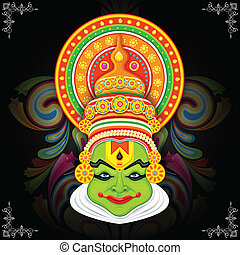 Colorful Kathakali Face - illustration of
