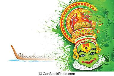 Colorful Kathakali Face - illustration of Kathakali dancer...