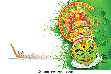 Colorful Kathakali Face - illustration of Kathakali dancer...