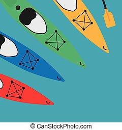 colorful kayaks - vector illustration
