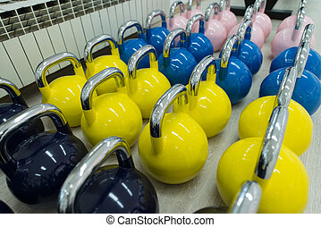 Colorful Kettle Bell on Floor