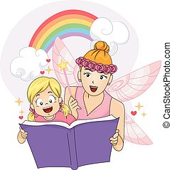 Colorful Kid Girl Fairy Fantasy Book