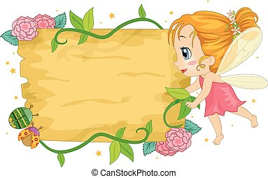 Colorful Kid Girl Fairy Wooden Board