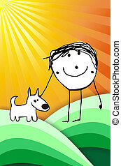 hand writting illustration of a happy kid playing with his dog. Vector format available