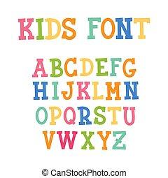 Colorful Kids Capital Letters Alphabet. Vector illustration