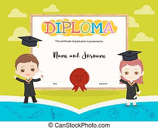 Colorful kids diploma certificate template in cartoon style and book theme with boy and girl holding diploma and wearing academic dress and graduation cap