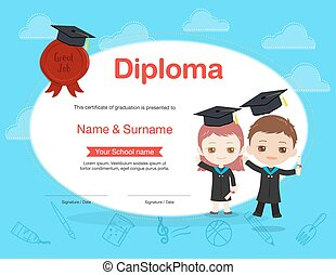 Colorful kids diploma certificate template in cartoon style with boy and girl holding diploma and wearing academic dress and graduation cap
