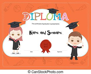 Colorful kids diploma certificate template in cartoon style with boy and girl wearing academic dress and graduation cap