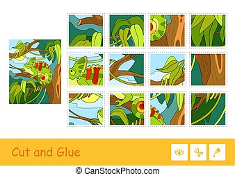 Colorful kids game with the image of cute chameleon sitting on a tree in a rainforest. Wild animals. Cut and glue children game and another developmental activity.