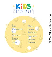 Colorful kids meal menu design vector template