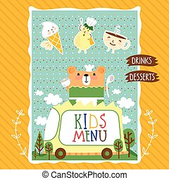 Colorful kids meal menu vector template