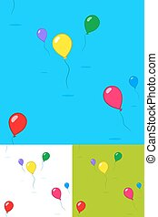 Colorful kids party balloons floating in the sky