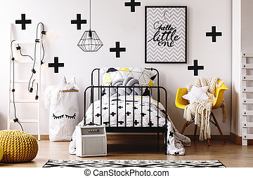 Colorful kids room with pouf