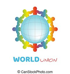 Colorful kids silhouette around the blue ball symbolize different culture standing together holding hands around earth globe. Unity children for peace around the world. Vector conceptual social logo