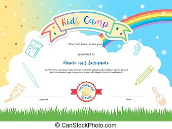 Colorful kids summer camp diploma certificate template in cartoon style with sky rainbow and kids elements in the background