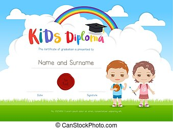 Clip art vector of colorful kids summer camp diploma certificate colorful kids summer camp diploma certificate template in cartoon style with boy girl and sky rainbow yadclub Choice Image