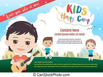 Colorful kids summer camp poster template in cartoon style with various children activities music, painting and sport