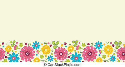 Colorful kimono flowers horizontal seamless pattern border -...